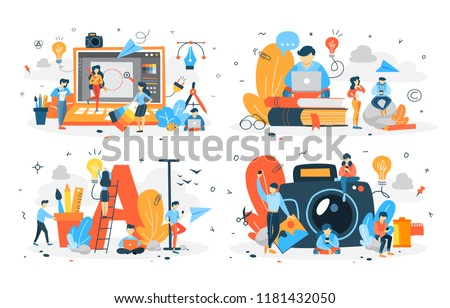 Set of people making different types of digital content. Creative blogger. Photography and text, video and illustration. Vector flat illustration