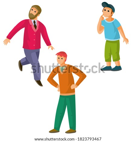 set of people men and child, onlookers, isolated object on white background, cartoon illustration, vector, eps Stock fotó ©