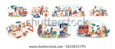 Set of people moving or leaving their homes and offices. Family couples pack belongings and relocating to new apartments. Transportation service. Flat vector cartoon illustration isolated on white Stockfoto ©
