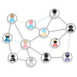 Set of people networking,  communication, social distancing, the new normal. Design element vector.