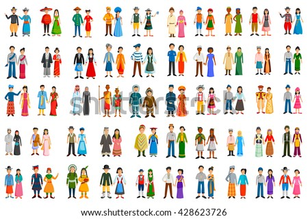 set of people of different