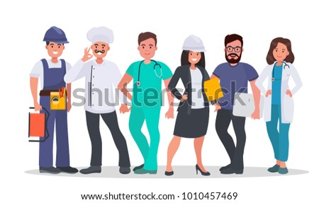 Set of people of different occupations Doctor, Nurse, IT-specialist, Engineer, Chef, Electrician. World's most in demand professions. Labor day concept vector illustration.