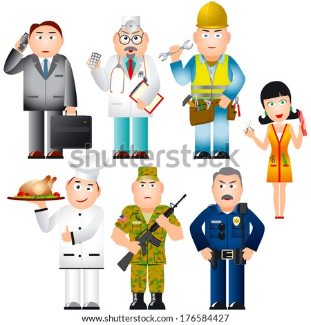 Set of people of different professions (occupations); Businessman, doctor, worker, cook, police officer, soldier and hairdresser