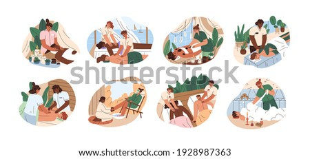 set of people on couches during