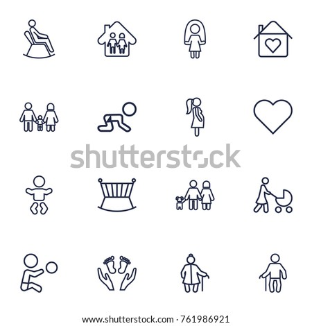 Set Of 16 People Outline Icons Set.Collection Of Man In Armchair, Care, Crawling Kid And Other Elements.