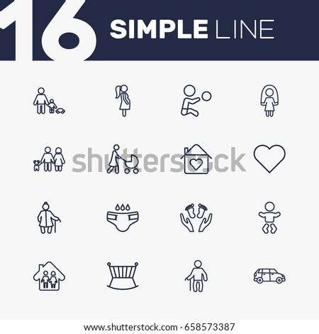 Set Of 16 People Outline Icons Set.Collection Of Pregnant Woman, Boy, Diaper And Other Elements.