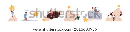 Set of people overcoming obstacles and hurdles on way to success. Challenges and goal achievement concept. Process of achieving targets. Flat graphic vector illustration isolated on white background