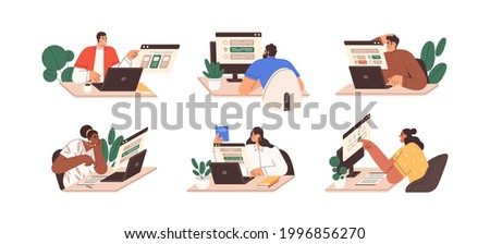 Set of people passing online test at computer. Students with laptops at internet exam. Men and women ticking answers on screen. Colored flat graphic vector illustration isolated on white background