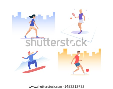 Set of people playing active sports. Group of men and women practising sport. Outdoor activities concept. Vector illustration can be used for presentation slide, new project, commercial