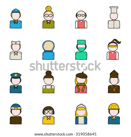 Set of people profession icons: policeman, artist, engineer, nurse, surgeon, waiter, stewardess.  Work occupation concept