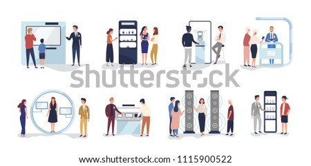 Set of people standing beside commercial promotional stands, trying product samples, talking to consultants and promoters advertising goods or services at trade fair. Flat cartoon vector illustration.