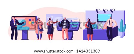 Set of People Standing Beside Commercial Promotional Stands, Trying Product Samples, Talking to Consultants and Promoters Advertising Goods or Services at Trade Fair. Cartoon Flat Vector Illustration