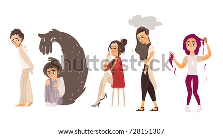 Set of people suffering from mental disorder, illness, grief, nervous breakdown, flat cartoon vector illustration isolated on white background. Mental illness concept, people in despair, stress, grief