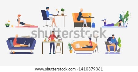 Set of people using computers and having rest. Men and women sitting on sofas, freelancing, cooking and practicing yoga. Vector illustration can be used for presentation slide, commercial, business