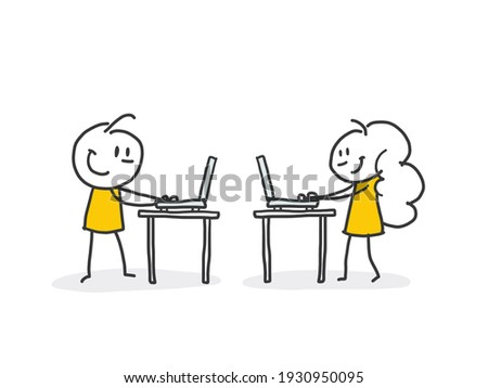 Set of people using laptops and computers. Distance working, freelance and internet entertainment concept illustration. Stock photo ©