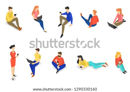 Set of people using mobile phones. Teens communicate with friends through social networks using smartphones. Internet addiction. Isolated vector isometric illustration