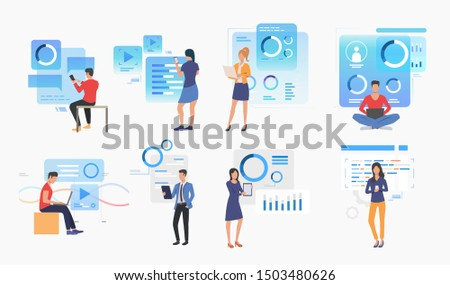 Set of people using modern technologies. Group of men and women working with interfaces. User interface concept. Vector illustration for website, landing page, online store