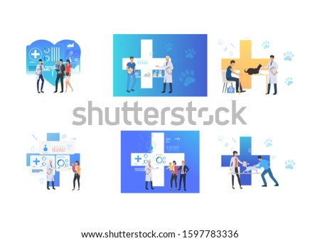 Set of people visiting clinics. Flat vector illustrations of clinic, vet clinic, veterinary. Treatment, consultation, animal and child care concept for banner, website design or landing web page