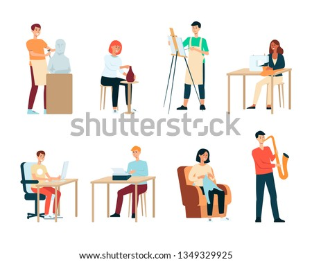 Set of people with artistic occupations cartoon style, vector illustration isolated on white background. Collection of men and women with creative professions or hobbies