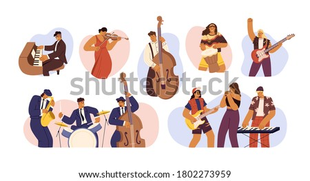 Set of people with different musical instrument vector flat illustration. Collection of music bands, musicians singing and playing music instruments isolated. Person with art hobby or profession