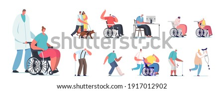 Set of People with Disability. Male and Female Characters Riding Wheelchair and Walking with Crutches, Blind Man with Guide Dog, Invalids Isolated on White Background. Cartoon Vector Illustration Stockfoto ©