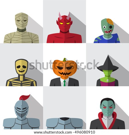 set of people with halloween