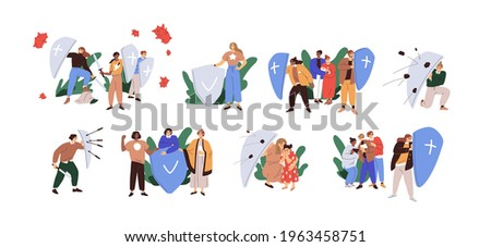 Set of people with shields protecting from dangers. Concept of defense, insurance, safety, risk protection and attack resistance. Colored flat graphic vector illustration isolated on white background