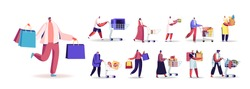 Set of People with Shopping Packages Buying Grocery, Gifts. Male and Female Characters Push Trolley, Carry Paper Bags and Carts in Supermarket Isolated on White Background. Cartoon Vector Illustration