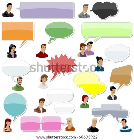 set of people with speech bubbles and dialog balloons - stock vector