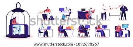Set of People Work in Office. Characters Working on Laptops and Computers, Scientists Exploration in Laboratory. Male Female Working Process Isolated on White Background. Cartoon Vector Illustration Foto stock ©