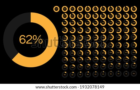 Set of Percentage Meter for Report Progress,  Icon loader 0 to 100, 5, 10, 15, 20, 25, 30, 35, 40, 45, 50, 55, 60, 65, 70, 75, 80, 85, 90, 95, 100,  Yellow Color Loader Indicator Vector  Foto stock ©