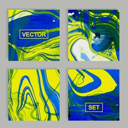 Set of perfect vector greeting card templates. Vector abstract texture. Ink. Abstract ink painting. Blue and yellow liquid in water.