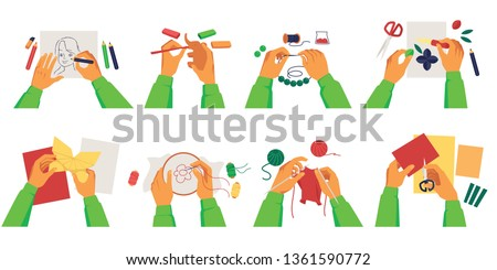 Set of person hands making diy crafts of various creative hobbies cartoon style, vector illustration isolated on white background. Collection of handmade works and activities
