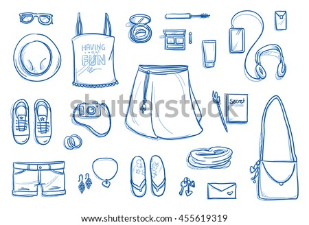 Set of personal belongings, objects of a young teenage girl. Clothing, accessories, cosmetics, phone, stuff. Icons for a young modern hipster lifestyle, hand drawn flat lay vector illustration