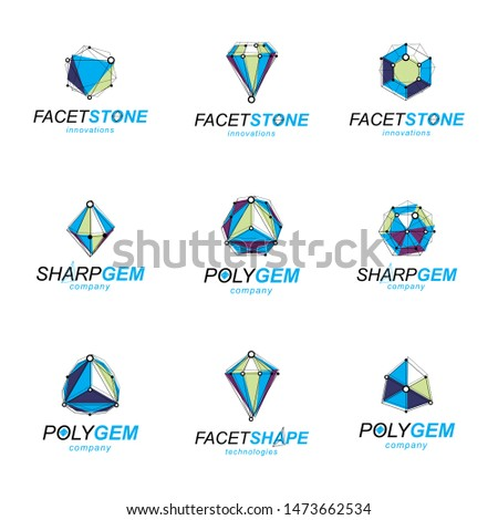Set of perspective technology shapes, polygonal wireframe objects collection. Collection of diamond design elements.