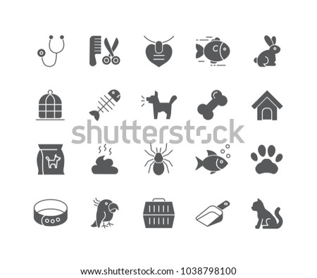Set of Pet filled icons isolated on white background.