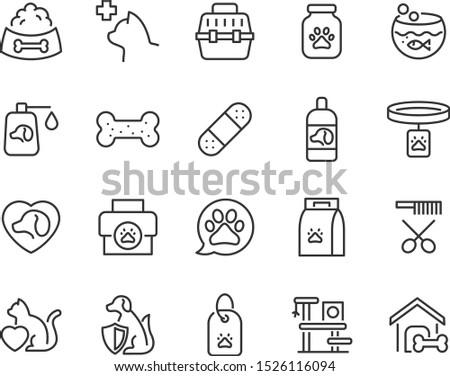 set of pet icons, pet shop, puppy, kit
