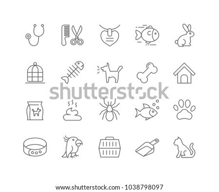 Set of Pet outline icons isolated on white background.