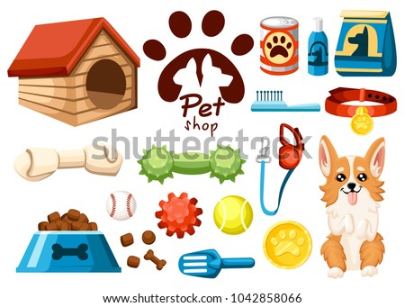 Set of pet shop icons. Accessories for dogs. Flat vector illustration. Feed, toys, balls, collar. Products for the pet shop. Vector illustration isolated on white background