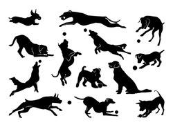 Set of pet silhouettes. Dogs with ball. Vector illustration