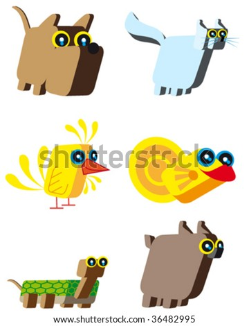 Set of pets cartoons. They are based on cubes.