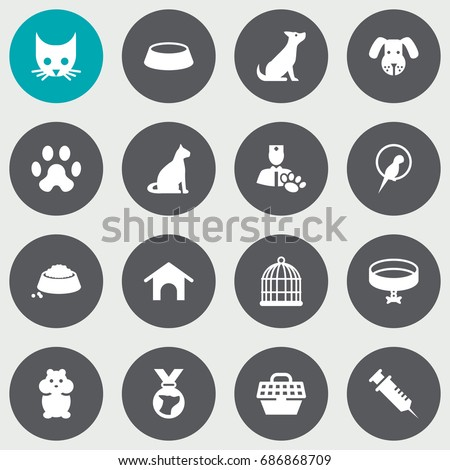 set of 16 pets icons set
