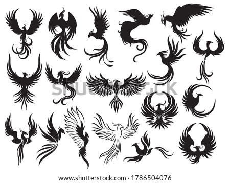 Set of Phoenix bird silhouettes. Collection of firebirds in various styles. Stylized logo. Fantastic animals. Ornithology. Vector illustration isolated on white background.