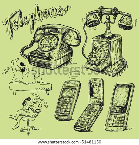 set of phone - stock vector