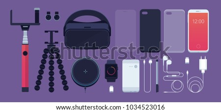 Set of phone accessories: smartphone, power bank, charger, mobile phone lens, flash card, headphones, stylus, 3D reality glasses, selfie stick, tripod, protective film, watch. Vector illustration. Foto d'archivio ©