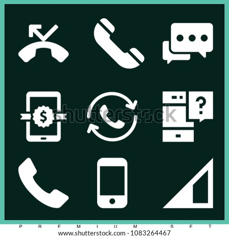 set of 9 phone filled icons