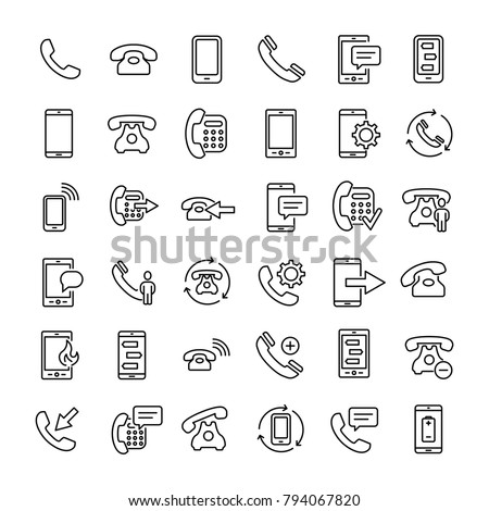 Set of 36 phone thin line icons. High quality pictograms of mobile. Modern outline style icons collection. Telephone, smartphone, cellphone, message, etc.