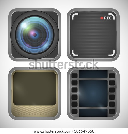 set of photo and video icons