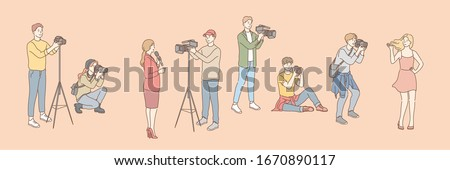 Set of photo and videographers, paparazzi, journalist concept. Photo, video shooting. Group of men women photographers and cameramen shooting video taking pictures. Model agency, tv reporter. Vector