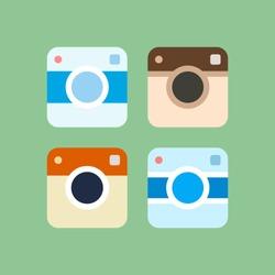Set of photo camera icons. Vector illustration.